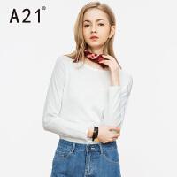 以纯A21女装圆领白色长袖线衫女 秋装新款简约时尚休闲套头毛衣纯棉