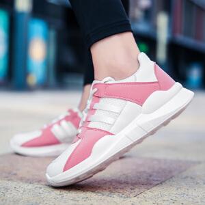 奇安达2017新款女子轻便缓震透气厚底增高运动休闲跑步鞋