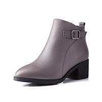 富贵鸟短靴女 秋冬新款单靴马丁靴英伦风短筒女靴子冬靴