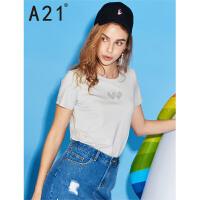 以纯线上品牌a21 2017夏装新款2017短袖t恤女刺绣短袖上衣