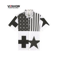 viishow夏装新款短袖衬衫 欧美街头潮流短袖衬衣男 印花图案CD67962