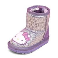 hellokitty童鞋女童靴子加绒雪地靴冬季新款保暖短靴女童棉鞋K6485DD547