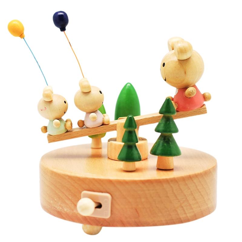 [当当自营]乐嘉创意礼品玩具八音盒榉木原木纯手工音乐盒小熊跷跷板