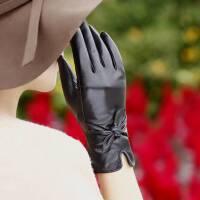 2015皮毛一体手套 女式时尚蝴蝶结羊皮真皮手套 情人节礼物 秋冬季保暖加绒加厚手套