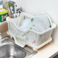 普润 厨房置物架 塑料加厚滴水碗碟收纳架 滤水沥水碗碟架 滴水碗架(正面漏水)