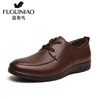 富贵鸟头层牛皮潮鞋商务休闲皮鞋圆头系带鞋子男鞋