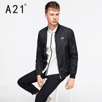 以纯A21春季薄外套男 青年黑色飞行夹克 男士休闲潮流时尚棒球服新款