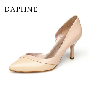 Daphne/达芙妮时尚拼色浅口尖头高跟单鞋1015101060