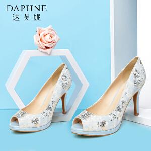 Daphne/达芙妮细高跟印花亮片鱼嘴单鞋1015102039