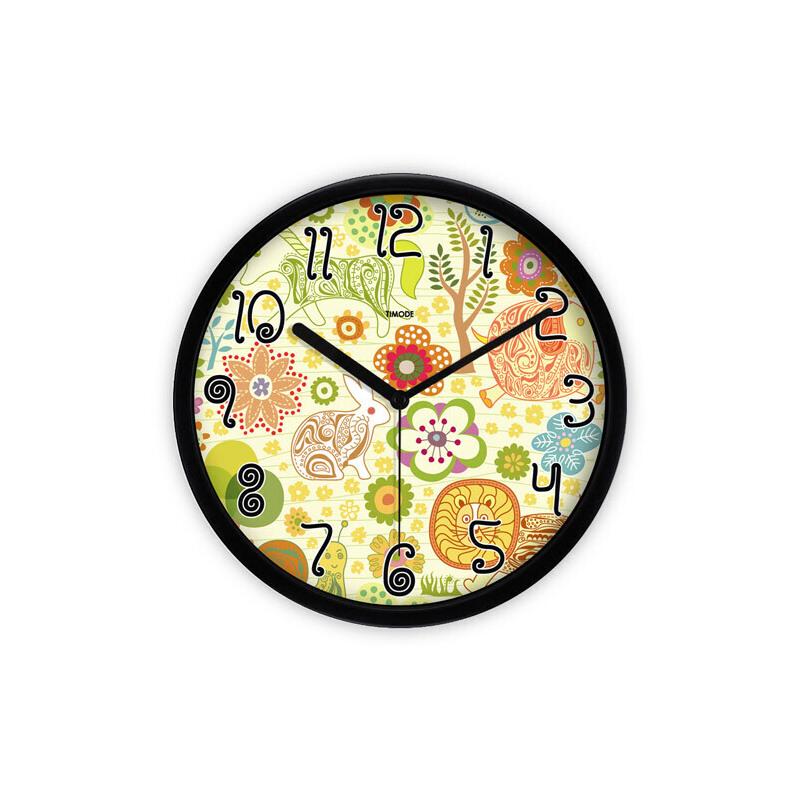 儿童卧室静音可爱钟表 动物园卡通钟gza0056_黑色边框