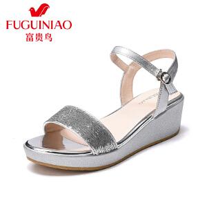 富贵鸟女鞋2017夏季新款韩版女凉鞋坡跟松糕跟凉鞋