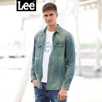 Lee男装 2017秋冬新品男士长袖牛仔衬衫双口袋标准款L298342HG7DZ