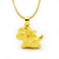 先恩尼黄金 3D硬足金项链吊坠 生肖 马 黄金项链 礼物XZJB114012