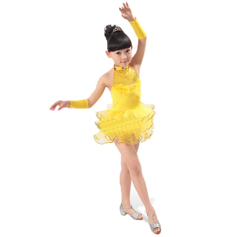 演出服跳舞蹈表演衣服套装秋秋季 小孩女儿童拉丁舞裙子服装_黄色,130