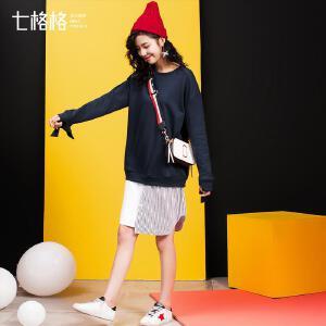 【9.21超级品牌日】七格格2017新款拼接不规则下摆假两件中长款连衣裙女X821