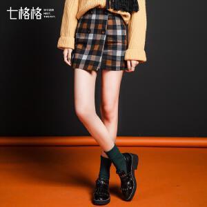 【9.21超级品牌日】七格格2017新款韩版显瘦A字复古包臀裙半身裙短裙女