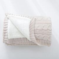 【儿童节大促】伊迪梦家纺 针织麻花双层复合毯夏被 羊羔绒毛毯 毛毯子单人汽车盖毯沙发休闲毯铺毯SJ101
