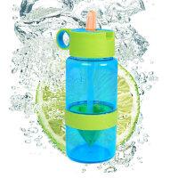 普润 儿童柠檬杯喝水便携榨汁杯儿童吸管杯便携塑料水杯子 (蓝瓶绿盖)