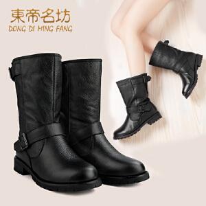东帝名坊新款头层牛皮短靴 欧美骑士靴 大牌明星同款靴32702