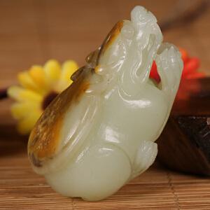 侯晓峰玉雕 新疆和田玉白玉籽料龙龟吊坠金钱龟挂件福寿延年玩件