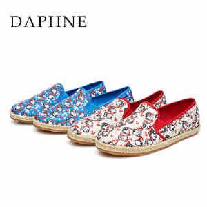 Daphne/达芙妮女鞋 HelloKitty可爱印花编织套脚单鞋