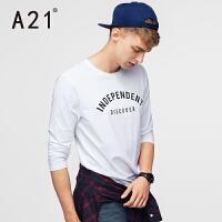 以纯A21男士长袖T恤青年修身圆领印花上衣学生休闲白色衣服薄秋装新款