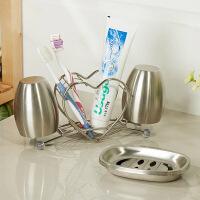 【可货到付款】欧润哲 不锈钢心形牙刷架+榄形漱口杯对杯 浴室创意情侣洗漱套装