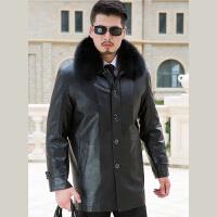 EASZin 新款男士尼克服 中年黄金内胆狐狸毛领商务男装外套皮大衣