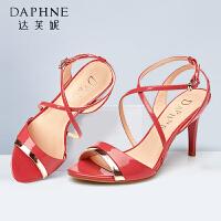 达芙妮正品凉鞋 细跟罗马风凉鞋 夏天鞋子女士高跟鞋韩版百搭
