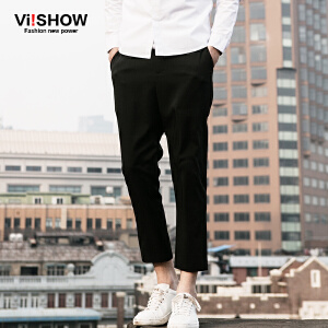 VIISHOW春装新款休闲裤 欧美时尚直筒裤 黑色休闲长裤男潮