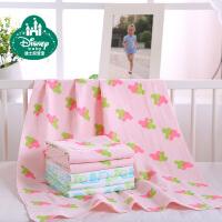 迪士尼宝宝 婴儿浴巾 棉柔软宝宝纱布浴巾 新生儿毛巾被120*60cm 本白底小汽车款