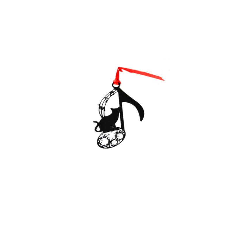 碳墨轩中国风礼品 创意高档金属镜面漆书签 可爱音符猫,原创金属书签