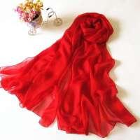 春秋女士百搭红色围巾 秋冬长款披肩 中国红长款真丝围巾 大红色丝巾