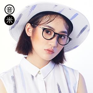 音米复古眼镜框男潮可配近视韩版无镜片板材圆形眼镜架女光学配镜 AAGCBY834