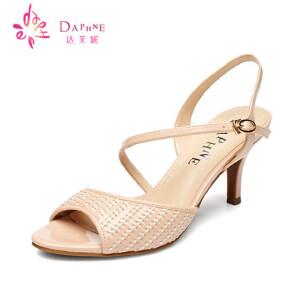 Daphne/达芙妮2015夏款女鞋 优雅高跟侧空编织扣带凉鞋1015303126