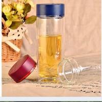 富光双层玻璃杯透明杯子带盖防漏水杯情侣创意茶杯FB1015-280