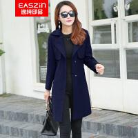 逸纯印品(EASZin)羊毛呢大衣 女士2016秋冬新款韩版休闲西装领格子双排扣毛呢外套