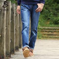 拓路者Pioneer Camp 春秋季新品弹力牛仔裤男猫须 韩版修身牛仔长裤 青年男裤子  571509