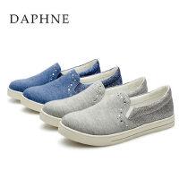 Daphne/达芙妮 春季新款 低跟平底套脚水钻软布单鞋1515101015
