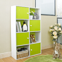 【当当自营】阿栗坞 八格四门家用收纳柜 储物柜 柜子 书柜书架 置物柜 绿色+白色 14161