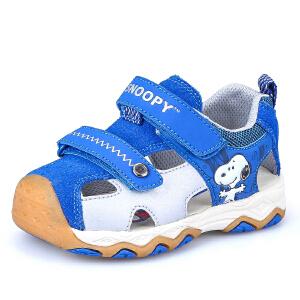 史努比童鞋夏季新款机能凉鞋宝宝包头凉鞋男童学步鞋机能鞋