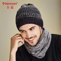 kenmont男士帽子秋冬天毛线帽韩版潮混色纯棉针织帽堆堆帽套头帽1733