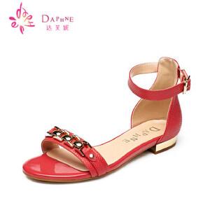 Daphne达芙妮2015夏季新款女鞋 低跟包后跟露趾凉鞋1015303121