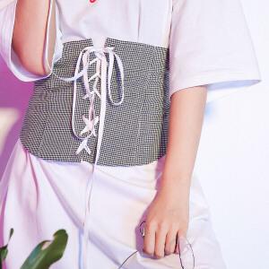 【9.21超级品牌日】七格格2017夏装新款设计师系列个性显瘦腰封配饰女N659