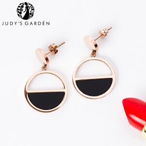 【茱蒂的花园】黑色面拼接圆环圆形耳环耳线耳钉玫瑰金女士时尚耳坠线耳夹送女友老婆情人节礼物