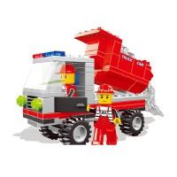 万格积木塑料拼装积木小人城市翻斗车模型26072N