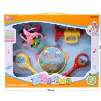 宝丽音乐互动乐趣组合摇铃 欢乐喇叭/沙锤/健力球 5件套儿童玩具