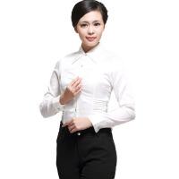 女式白色长袖陈衫纯棉OL通勤职业衬衫修身时尚潮流办公制服衬衫工装职场