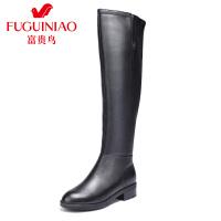 富贵鸟 冬季新款女靴长靴女过膝靴显瘦长筒靴高筒靴骑士靴
