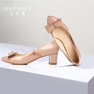 女鞋 漆皮中跟尖头蝴蝶结浅口单鞋1015101045